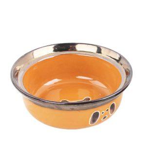Chén Sứ Vành Cao Màu Vàng Pawise Feeding (S)