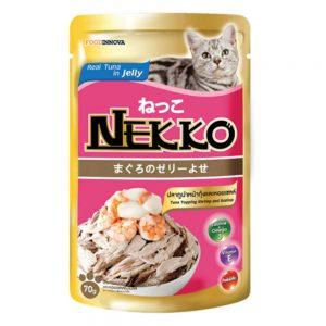 Pate cho mèo Jelly Nekko 70g - Vị cá ngừ rắc tôm & sò điệp