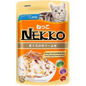 Pate cho mèo Jelly Nekko 70g - Vị cá ngừ rắc cá bào