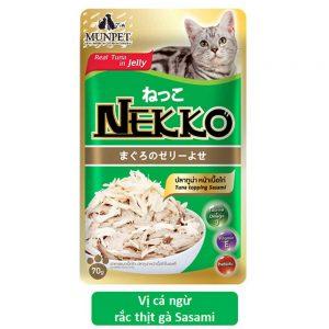 Pate cho mèo Jelly Nekko 70g - Vị cá ngừ rắc thịt gà sasami