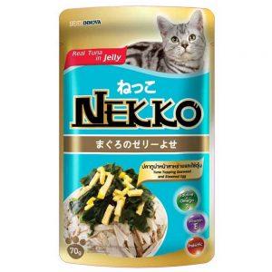 Pate cho mèo Jelly Nekko 70g - Vị cá ngừ rắc trứng hấp & rong biển