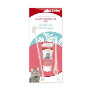 Kem đánh răng cho mèo Bioline 50g - Vị phô mai - Full bàn chải